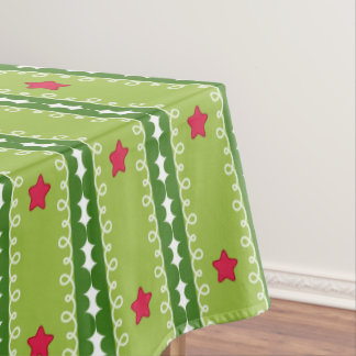 Green and Pink Stars Table Cloth