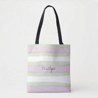 Green and Pink Striped Pattern Add your name Tote Bag