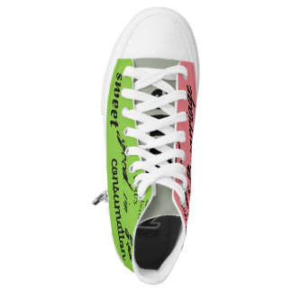 green and pink wedding graffiti hightop sneakers