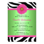 Green and Pink, Zebra Bridal Shower Invitation