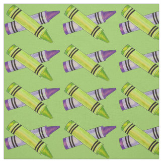Green and Purple Crayons Art Teacher Crayon Fabric