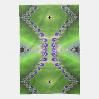 Green and Purple Design Tea Towel