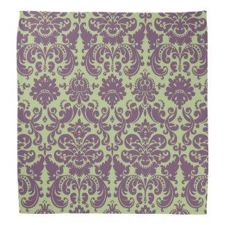 Green and Purple Elegant Damask Pattern Bandana