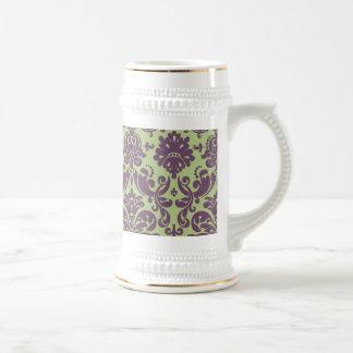 Green and Purple Elegant Damask Pattern Beer Steins
