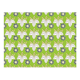Green and Purple Floral Pattern Spring Wallpaper Postcard
