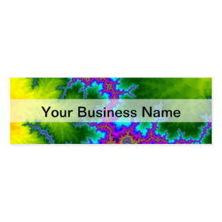 Green and purple fractal pattern pack of skinny business cards