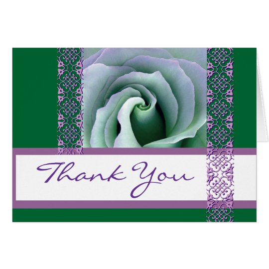 Green and Purple  Lace Rose Wedding Thank You Card