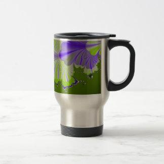 Green and Purple Leaf Stainless Steel Travel Mug