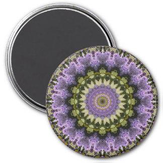 Green and Purple Lilac Mandala Kaleidoscope 7.5 Cm Round Magnet