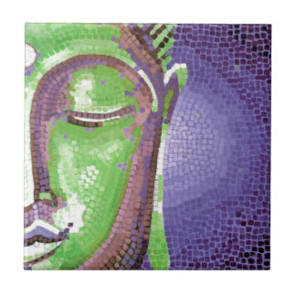 Green and Purple Mosaic Buddha Face Ceramic Tile