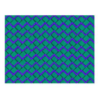Green and Purple Paper Zig Zag Postcard