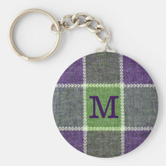 Green and Purple Plaid flannel Texture Monogram Key Ring