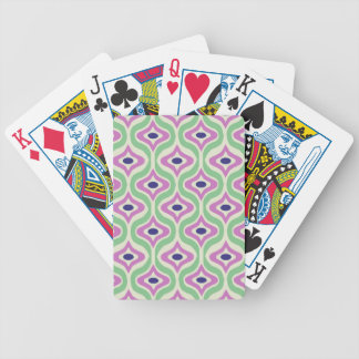 Green and Purple Retro Pattern Bicycle Poker Cards