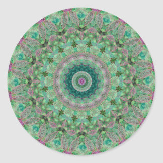 Green and Purple Seasons: Spring Mandala Round Sticker