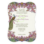 Green and Raspberry Damask Wedding Invitation