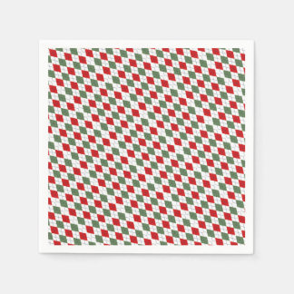 Green and Red Argyle Disposable Serviettes