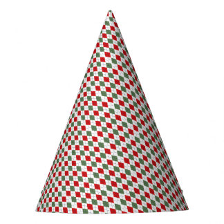 Green and Red Argyle Party Hat