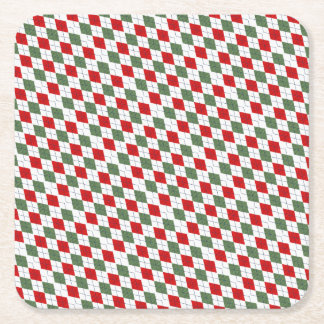 Green and Red Argyle Square Paper Coaster