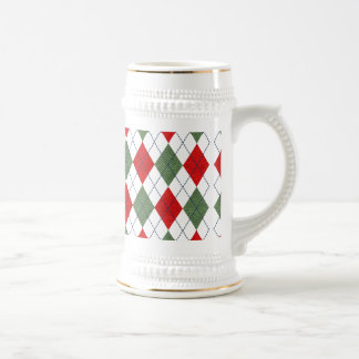 Green and Red Argyle Sweater Beer Stein
