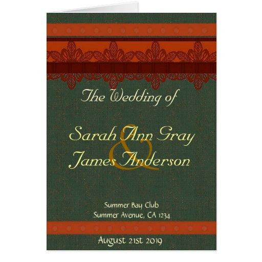 Green And Red Brocade Wedding Program Greeting Card