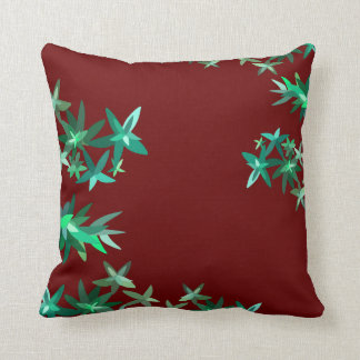 Green and Red Chic Foliage Pattern Throw Pillow