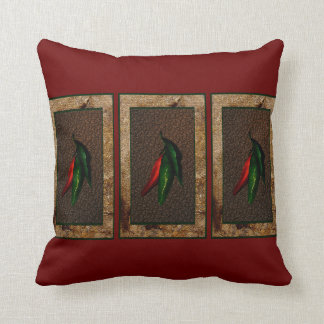 Green and Red Chili Peppers Throw Cushion