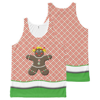 Green And Red Christmas Gingerbread Girl All-Over Print Tank Top