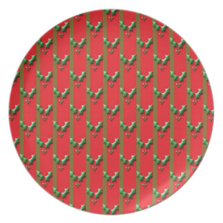 Green and red christmas holly plate