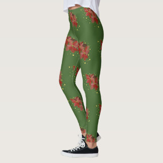 Green and red christmas leggings