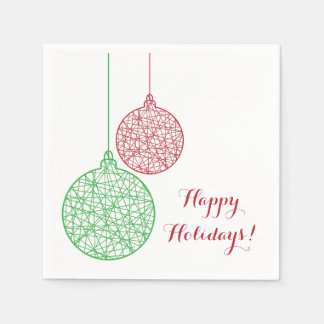 Green and Red Christmas Ornaments Paper Napkin Set