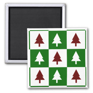 Green and Red Christmas Trees Square Magnet