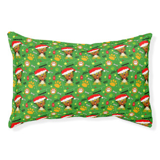 Green and Red Christmas Yorkie Pet Bed