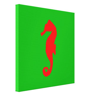 Green And Red Coastal Christmas Decor Seahorse Canvas Print