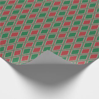Green and Red Diamond Knit Wrapping Paper