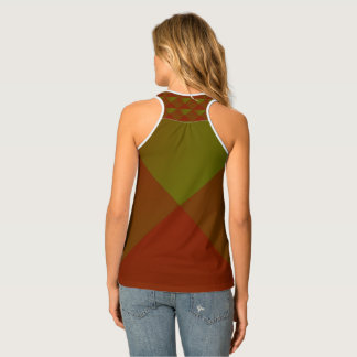 Green and Red Diamond Pattern Tank Top