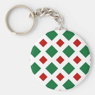Green and Red Diamonds on White Basic Round Button Key Ring