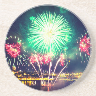 Green and Red Fireworks Coaster