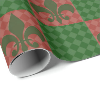 Green and Red Fleur De Lis Wrapping Paper