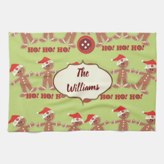 Green and Red Gingerbread Parade Tea Towel