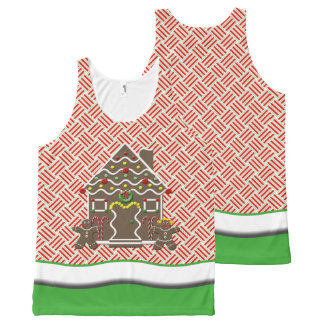 Green And Red Holiday Gingerbread House All-Over Print Tank Top