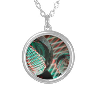 Green and Red in the crystal ball Silver Plated Necklace