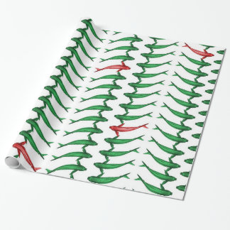 Green and Red Koi Fish Gift Wrap