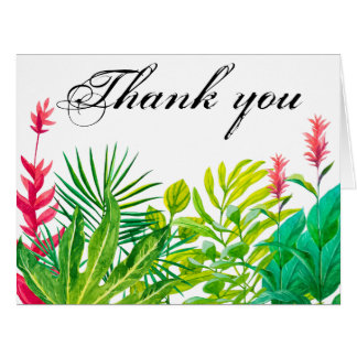 Green and Red Leaves Thank You Card