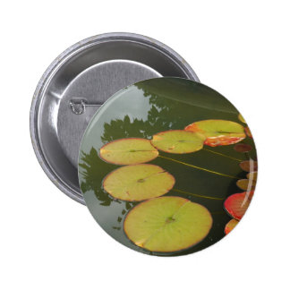 Green and Red Lilly pads Pinback Button