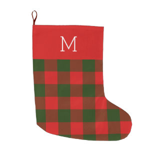 Green and Red Monogrammed Christmas Stocking