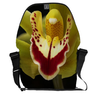 Green and Red Orchid Large Messenger Bag