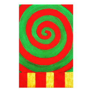 Green and Red Pastel Spiral (naive pattern) Stationery