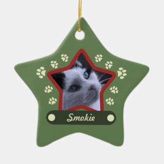 Green and Red Pet Paws Christmas Photo Ornament