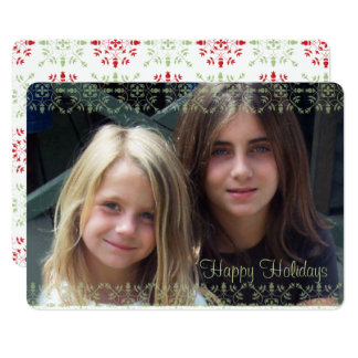 Green and Red Snowflake Double Sided Photo Card