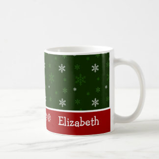 Green and Red Snowflake Personalised Christmas Mug